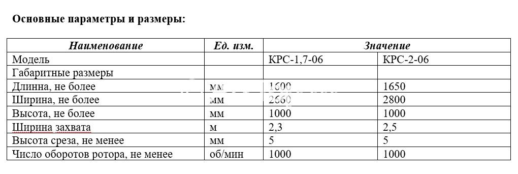 Параметры косилки-измельчитель КРС с боковым механизмом